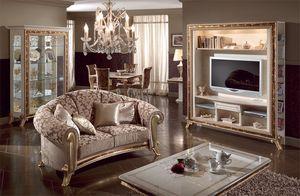 Raffaello sofá, Sofá de lujo clásico tapizar, decoraciones de oro