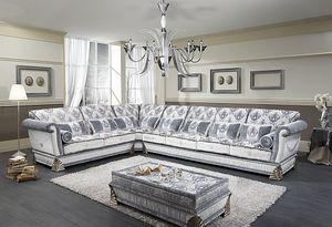 RIALTO angular, Sofá esquinero adaptable, estilo clásico de lujo