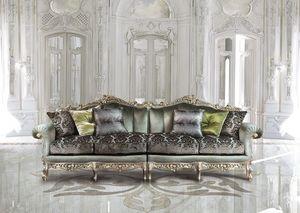 Saint Germain Due, Sofá de 4 plazas en el estilo clásico de lujo, talladas a mano