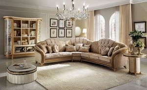 Sofá de la esquina Melodia, Sofá de esquina, de estilo clásico, textura de madera fina, revestimiento de tela