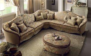 Sofá de la esquina Tiziano, Sofá grande esquina, cubierta de tela, marco de madera, cómodo