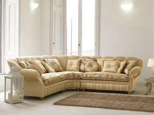 Teseo esquinero, Sofá de esquina en estilo clásico de lujo, forma curvilínea