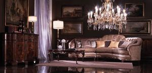 Valentina, Sofá de la esquina cubierto de seda, estilo clásico de lujo