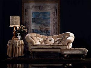 Valeria sofa capitonné, Sofá clásico de lujo, acabado en nogal, para sala de estar