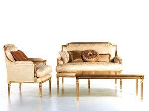 Vanessa sofa, Sofá tapizado, adornos de oro, para la recepción