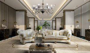 VANITY, Sofá clásico con prestigiosos bordados