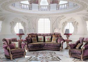 Venice Due, Sofá de 3 plazas para el hogar, de estilo clásico y lujoso