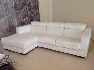 Relax, Sofá angular ajustable, con tela blanca extraíble