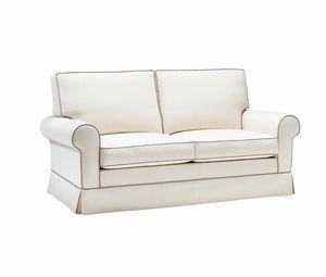 Amerigo, Sofá de estilo clásico, tejido blanco extraíble