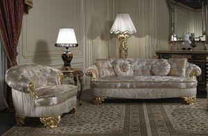 Art. PA/603 sofá, Sofá clásico de lujo, asientos con gran profundidad