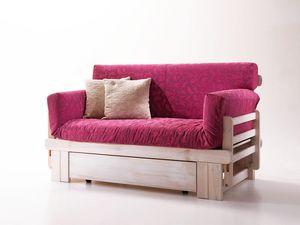 Botticelli, Sofá cama rústica, de madera, con el envase