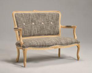 BRIANZOLO 8041L pequeño sofá, Sofá clásico, en madera de haya, para el castillo de lujo