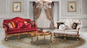 CASANOVA, Sofá clásico muy elegante, en terciopelo