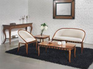 MIMI' sofà 8285L, Sofá en madera de haya, colores personalizados, para la sala de estar