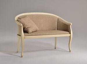POZZETTO sofá 8032L, Elegante sofá en madera de haya, patas torneadas, para la oficina