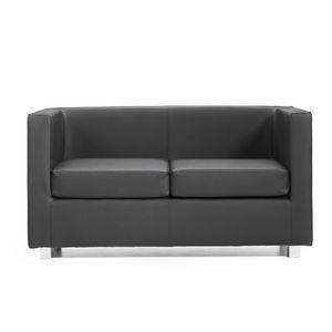 Quadra 2 3 PL, Sofá de madera cubierto de cuero, diversos colores, para las oficinas