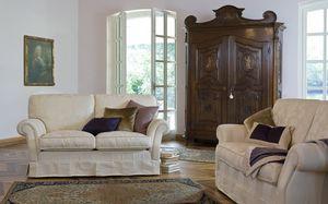 Silvio, Sofá clásico contemporáneo, con tapicería de tela