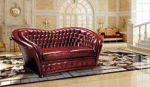 VERSAILLES, Sofá copetudo tapizado en cuero