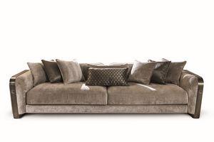 Voyage sofá, Sofá de terciopelo y cuero, con un diseño elegante