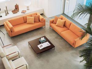 Albi', Elegante sofá de madera, cubierto con fibras acrílicas
