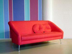 Annicinquanta, Sofá tapizado moderno, pies cromo pulido