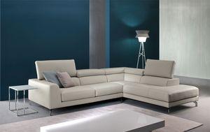 Arena, Sofá de cuero con relax mecanismo, para salas de estar modernas