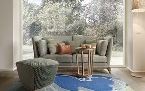 Aston sofá, Sofá de dos plazas con base de madera maciza