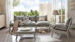 Bamboo sofá, Sofá de madera curvada, con correas elásticas