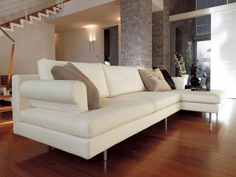 Brera corner, Sofá moderno con la península, pies cromados, para sala de estar