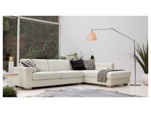 Brug corner, Angular sofá elegante en poliuretano, pies de madera
