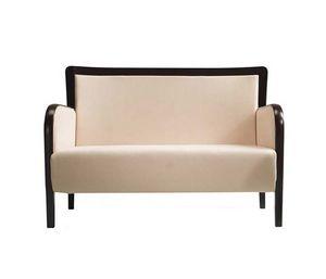 C28, La madera y un sofá de tela, asiento y respaldo tapizados, para salas de espera, hoteles, tiendas