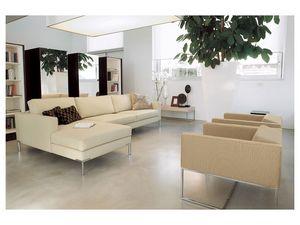 Ginger corner, Sofá modular, pie de cromo pulido para oficinas y hogares