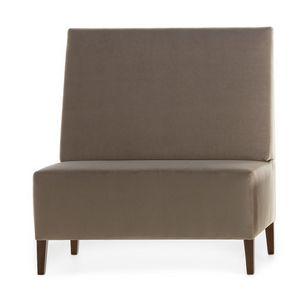 Linear 02451, Alta Banco modular, patas de madera, asiento y respaldo tapizados, cubierta de tela, estilo moderno