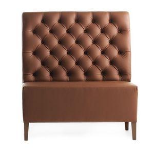 Linear 02451K, Alta Banco modular, patas de madera, asiento y respaldo tapizados capitonè, cubierta de piel, estilo moderno