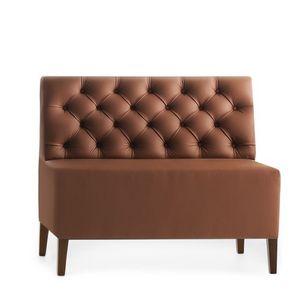 Linear 02452K, Baja Banco modular, patas de madera, asiento y respaldo tapizados capitoné, cubierta de piel, estilo moderno