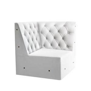Linear 02456K, Banco de la esquina modulares bajas, pies de madera maciza, asiento tapizado, copetudo espalda, pies de madera, de estilo moderno