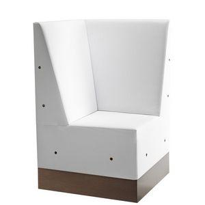 Linear 02487, Corner para alta banco modular, base de laminado, asiento y respaldo tapizados, estilo moderno