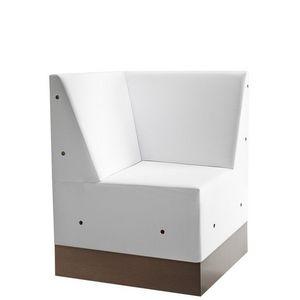 Linear 02486, Corner de baja banco modular, base de laminado, asiento y respaldo tapizados, estilo moderno