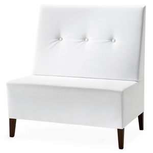 Linear 02951 - 02953, Alta Banco modular, patas de madera, asiento y respaldo tapizados, revestimiento de tela, estilo moderno
