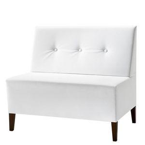 Linear 02952 - 02954, Baja Banco modular, patas de madera, asiento y respaldo tapizados, revestimiento de tela, estilo moderno
