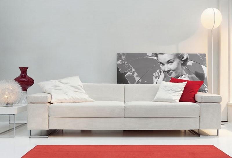 Mago', Sofá ideal para sala de centro, con los pies en acero cromado