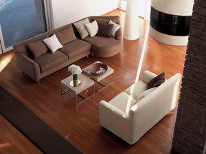 Minorca corner, Sofá de la esquina, con la tela extraíble, para sala de estar