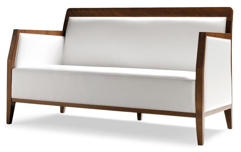 PL 49 EN, Sofá lineal en madera, tapicería de cuero