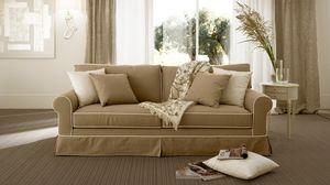 Rivoli sofà, Mullido sofá en poliuretano, almohadas de plumas