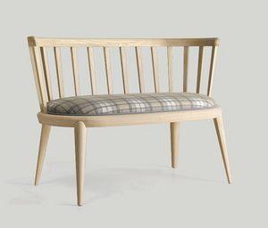 Udinì pequeño sofá, Sofá de madera de fresno, con un gusto tradicional