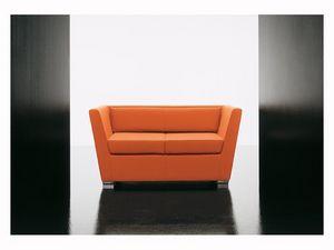 Double 2p, Sofá suave, con pies de aluminio, para la sala de espera