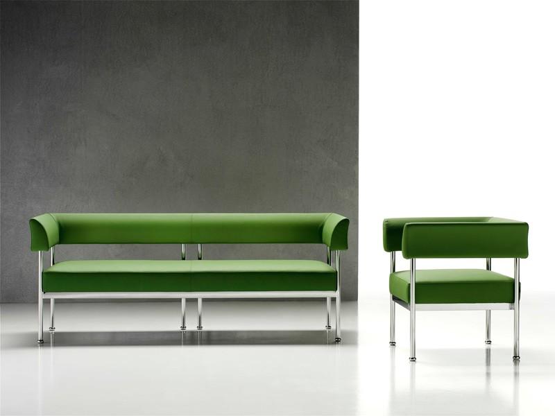 Sofá de 3 plazas, marco de acero cromado, para la oficina | IDFdesign
