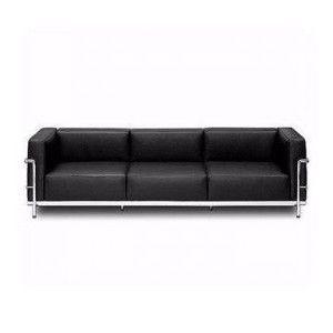 LC3, Elegante sofá de 3 plazas, cubierto de cuero