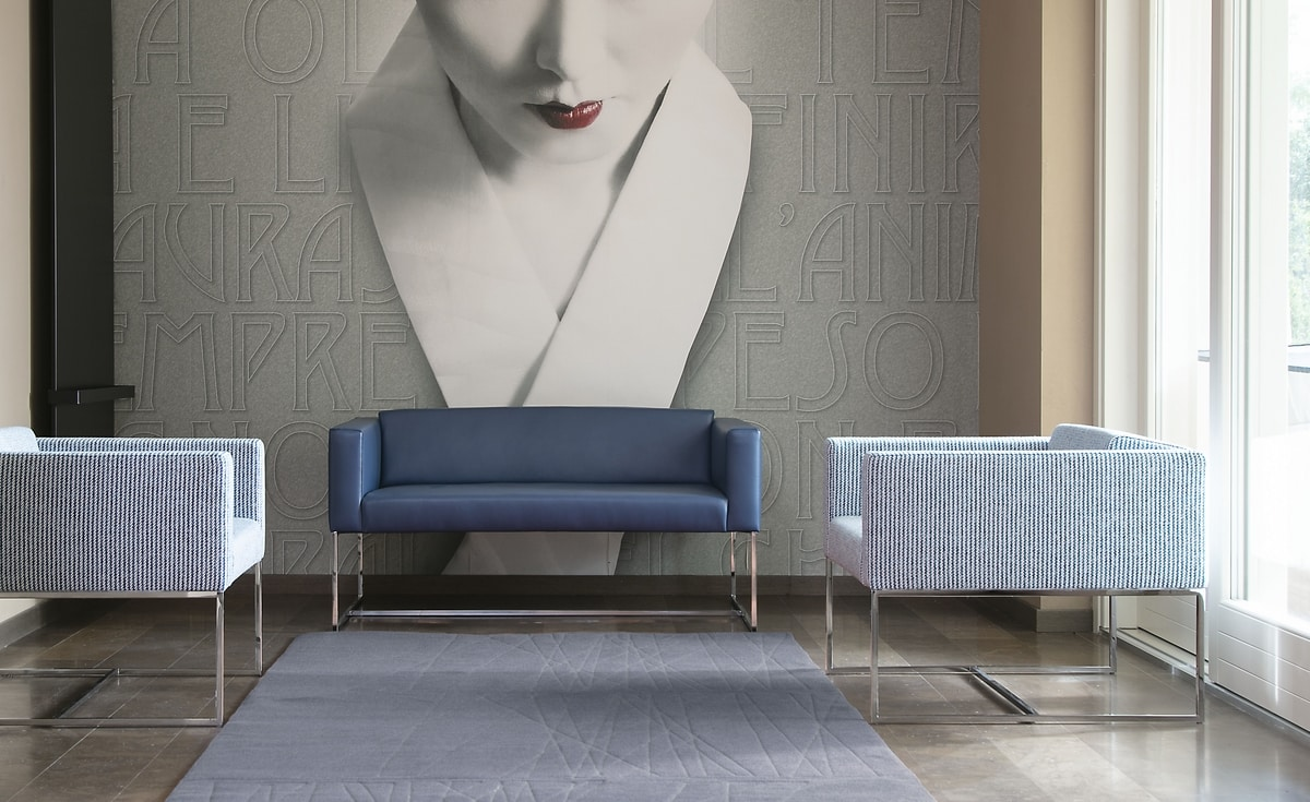 Square sofa, Sofá con tubo cuadrado de acero, para la sala de espera