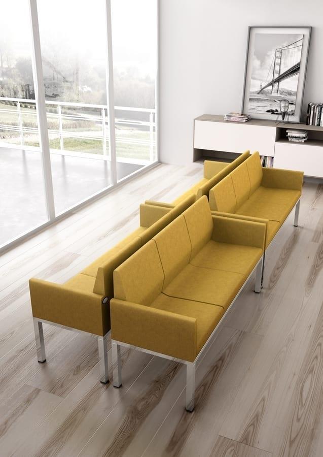 Tre-Di 3 seats sofa with padded armrests 99903, Sofá de 3 plazas para salas de espera y oficinas
